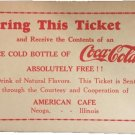 vintage Free Coca Cola Ticket