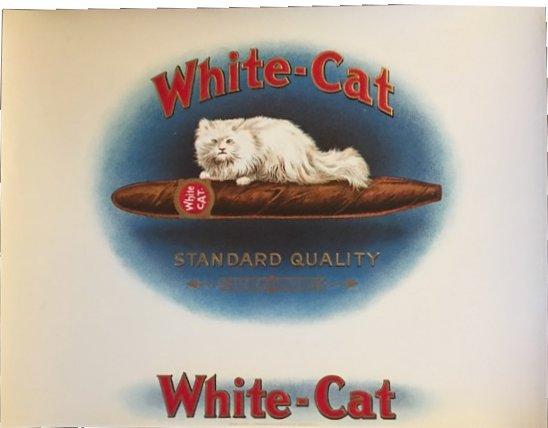 vintage White Cat cigar box label