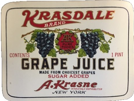 vintage Krasdale Grape Juice Label