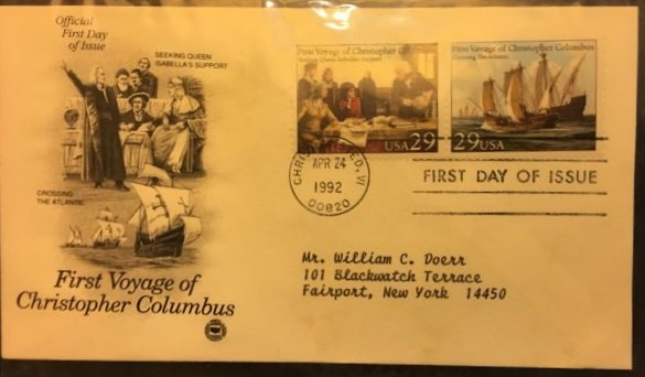 First Day Cover 4-24-1992 First Voyage of Christopher Columbus