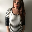 Clothing - Black & White Striped Shirt with Colorblock Sleeves - Large