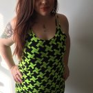 Clothing - Green Abstract Cube Print Tank Dress - Small