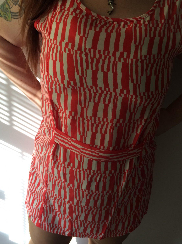 Clothing - Abstract Orange Vintage Patterned Dress - Large