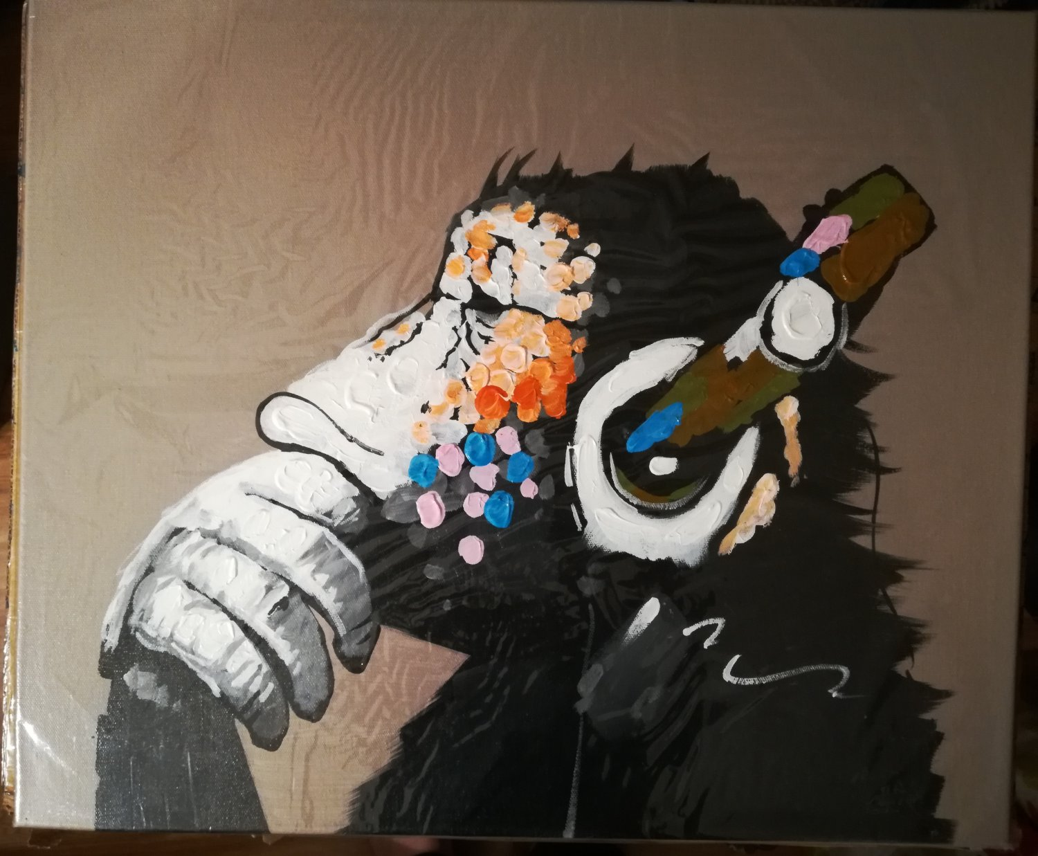 """NEW BPAGO Gorilla with Headset Single Panel Canvas Painting - (20"""" x 24"""") (PRICE DROP!)"""