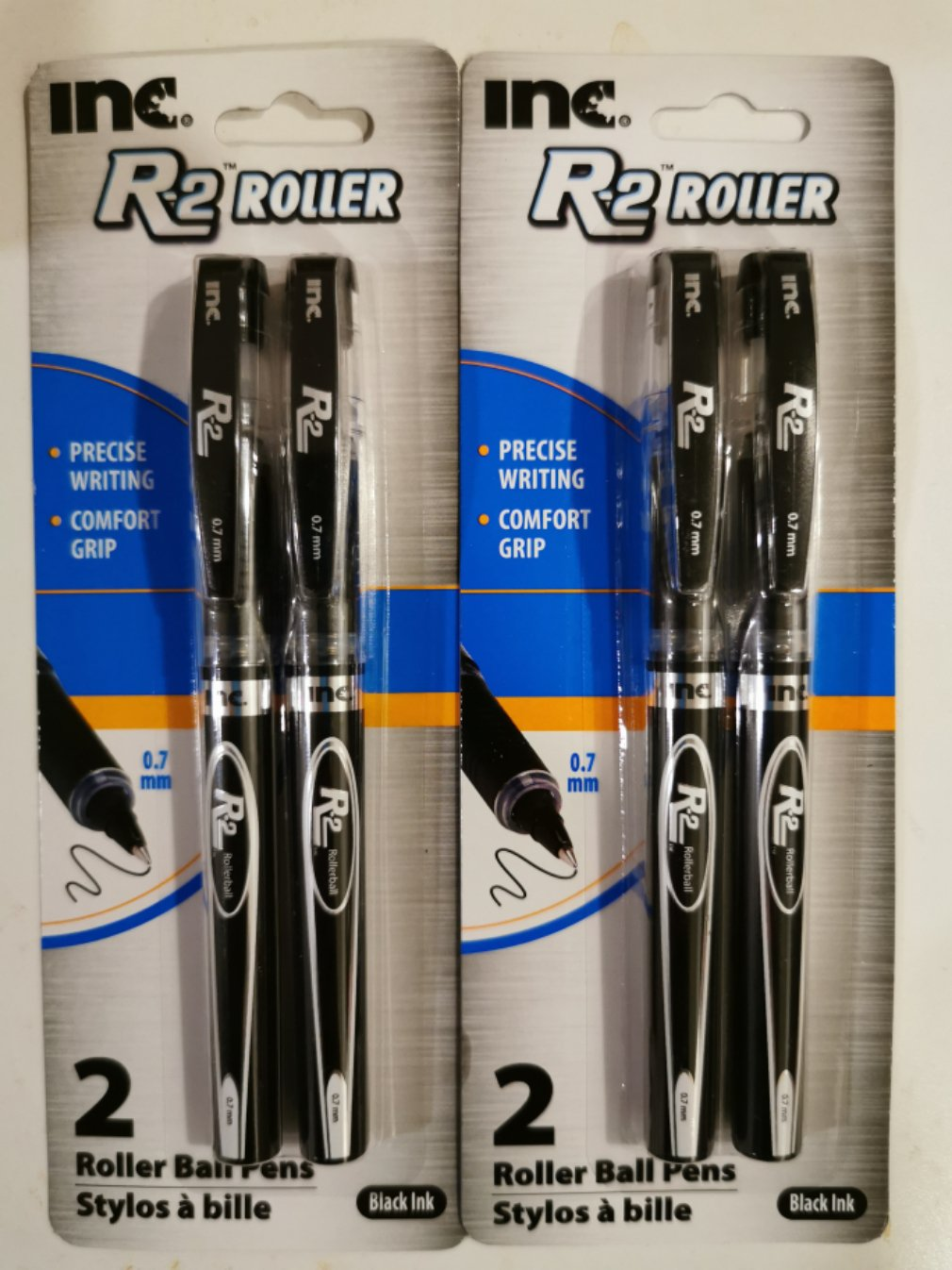 Inc. R2 Roller Rollerball 0.7mm Ink Pens - Black Ink (2 Pack)