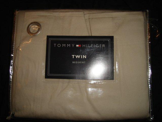 TOMMY HILFIGER Classic  KHAKI Twill Grommet Twin Bedskirt Beige SAND $15.99 SALE