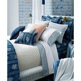 Ralph Lauren Biarritz Cuff Blue Standard Pillowcases Blue White Stripe