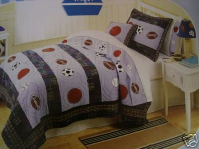 That's Mine Sports Action Twin Quilt and Sham Set Soccer Basketball Blue