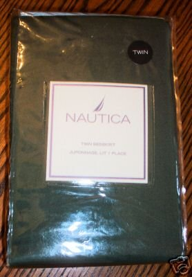 Nautica Andover Twin Bedskirt Olive Green with Navy Trim Tailored