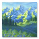 "Canvas Print 16x16"" of Mountains Painting 'Expression of Nature'"