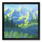 "Framed Print 12x12"" of Mountains Painting 'Expression of Nature'"