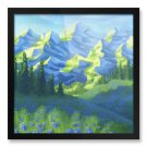 "Framed Print 16x16"" of Mountains Painting 'Expression of Nature'"