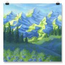 "Poster Print 12x12"" of Mountains Painting 'Expression of Nature'"