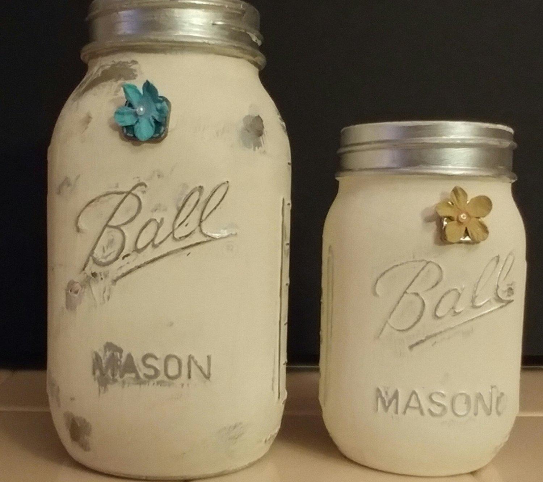Distressed Painted Mason Jar Set