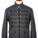 44 Inches chest Grey / Black Wool Napoleon Style Renaissance Military Zipper Jacket For Men
