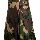 36 Inches Waist Handmade Cotton Modern Utility Modern Kilt - Army Camo Color