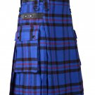 32 Inches Waist Men's Scottish Tartan Utility Modern Kilt with Pockets - Elliot Tartan
