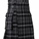 32 Inches Waist Men's Scottish Tartan Utility Modern Kilt with Pockets - Granite Tartan