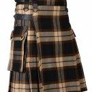 32 Inches Waist Men's Scottish Tartan Utility Modern Kilt with Pockets - Ancient Rose Tartan