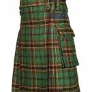 34 Inches Waist Men's Scottish Tartan Utility Modern Kilt with Pockets - Tara Murphy Tartan