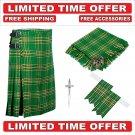 32 size Irish Scottish 8 Yard Tartan Kilt Package Kilt-Flyplaid-Flashes-Kilt Pin-Brooch