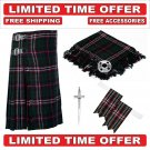 46 size Scottish National Scottish 8 Yard Tartan Kilt Package Kilt-Flyplaid-Flashes-Kilt Pin-Brooch