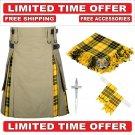 38 Size Khaki Scottish Hybrid Utility Kilts For Men Macleod Tartan, Free Accessories-Free Shipping