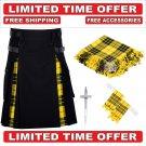 30 Size Black Scottish Hybrid Utility Kilts For Men Macleod Tartan, Free Accessories-Free Shipping