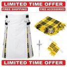 34 Size White Scottish Hybrid Utility Kilts For Men Macleod Tartan, Free Accessories-Free Shipping