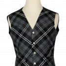 56 Size Biased Pattern 5 Buttons Grey Watch Modern Tartan Waistcoat / Kilt Vest For Men