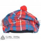 New Handmade Scottish TAM O' SHANTER Flat Bonnet Hat / TAMMIE Cap Tartan Hamilton Red Modern