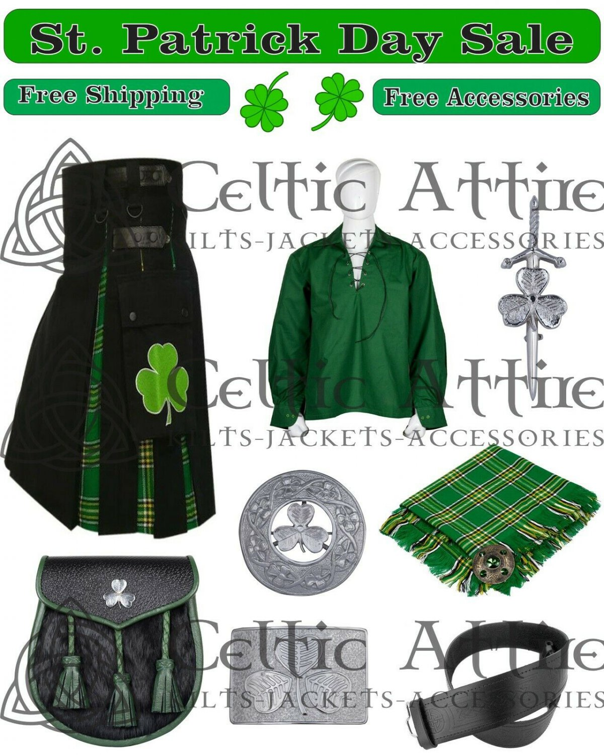 Premium Quality Shamrock Hybrid Kilt & Accessories For ST. PATRICK DAY Parade