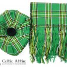 Scottish Traditional Tam o'Shanter Flat Bonnet Hat With Scarf 100% Acrylic Irish Tartan