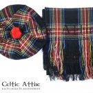 Scottish Traditional Tam o 'Shanter' Flat Bonnet Hat With Scarf 100% Acrylic Black Stewart Tartan