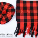 Scottish Traditional Tam o 'Shanter' Flat Bonnet Hat With Scarf 100% Acrylic Red Black Rob Roy