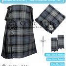 Premium -Hamilton Grey 16 Oz - Scottish 8 Yard Tartan Kilt and Accessories 50 size