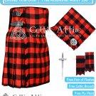 Premium -Red Black Rob Roy Fabric 16 Oz - Scottish 8 Yard Tartan Kilt and Accessories 34 size
