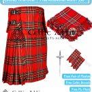 Premium -Royal Stewart Fabric 16 Oz - Scottish 8 Yard Tartan Kilt and Accessories 32 size