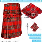 Premium -Royal Stewart Fabric 16 Oz - Scottish 8 Yard Tartan Kilt and Accessories 38 size