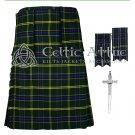 Premium -US Army Fabric 16 Oz- Scottish 8 Yard Tartan Kilt and Accessories 32 size