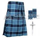 Premium -US Navy Fabric 16 Oz- Scottish 8 Yard Tartan Kilt and Accessories 30 size