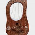 Lyre Harp Rosewood 10 Metal Strings/Lyre Harp Shesham Wood Free Case Tuning key