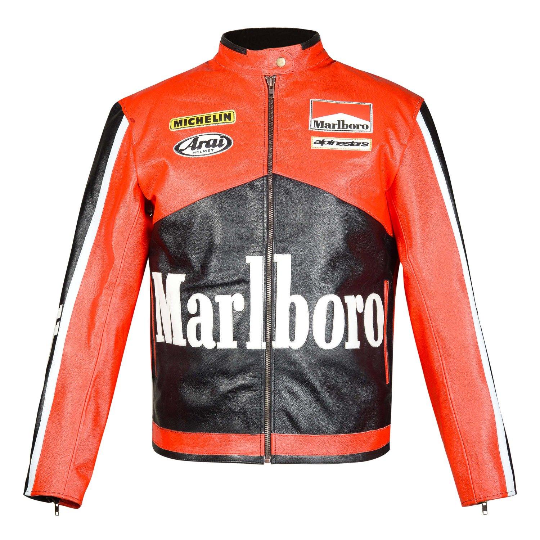 New Customized MARLBORO Racing Leather Motorbike Racing Jacket XL Size Free Shiping