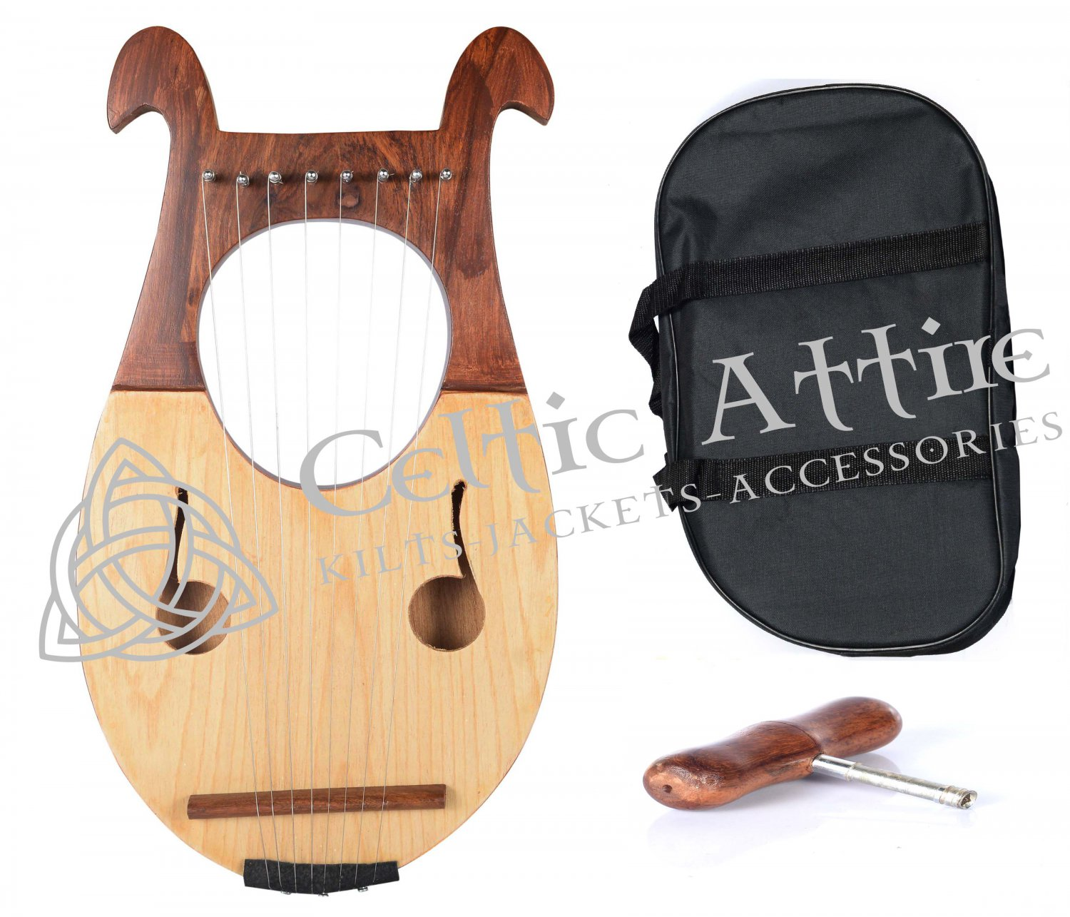 NEW LYRE HARP 8 Metal Strings Rosewood Hand Engraved With Black Bag and Key