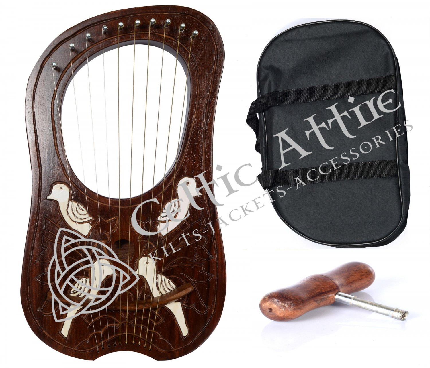 NEW LYRE HARP 10 Metal Strings Rosewood Hand Engraved With Black Bag and Key