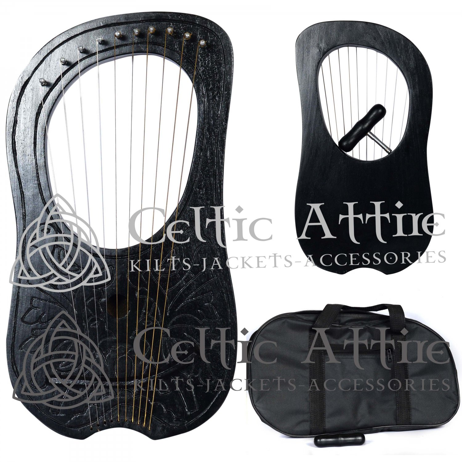 LYRE HARP Four BIRD 10 Metal Strings Rosewood Hand Engraved Black Bag and Key