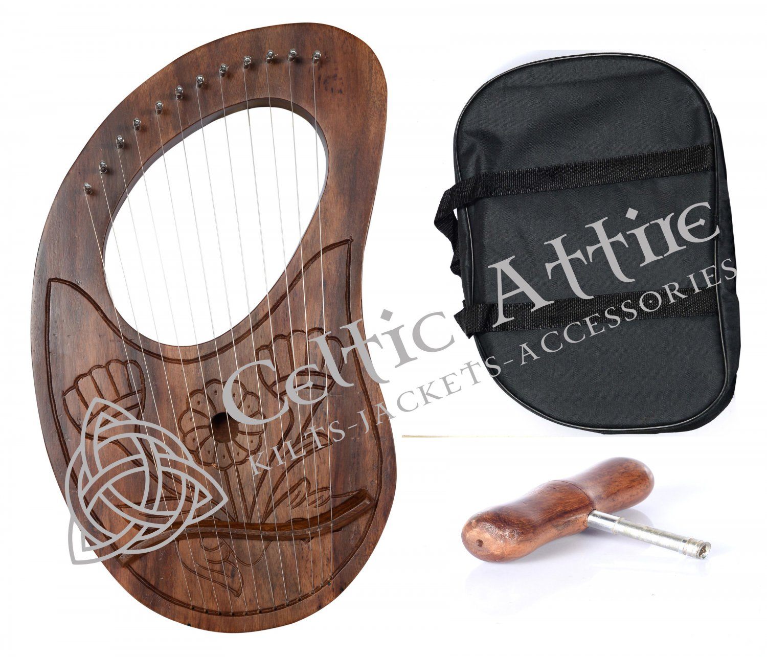 New Rose Wood LYRE HARP Hand Carved - 12 Metal Strings with Free Bag and