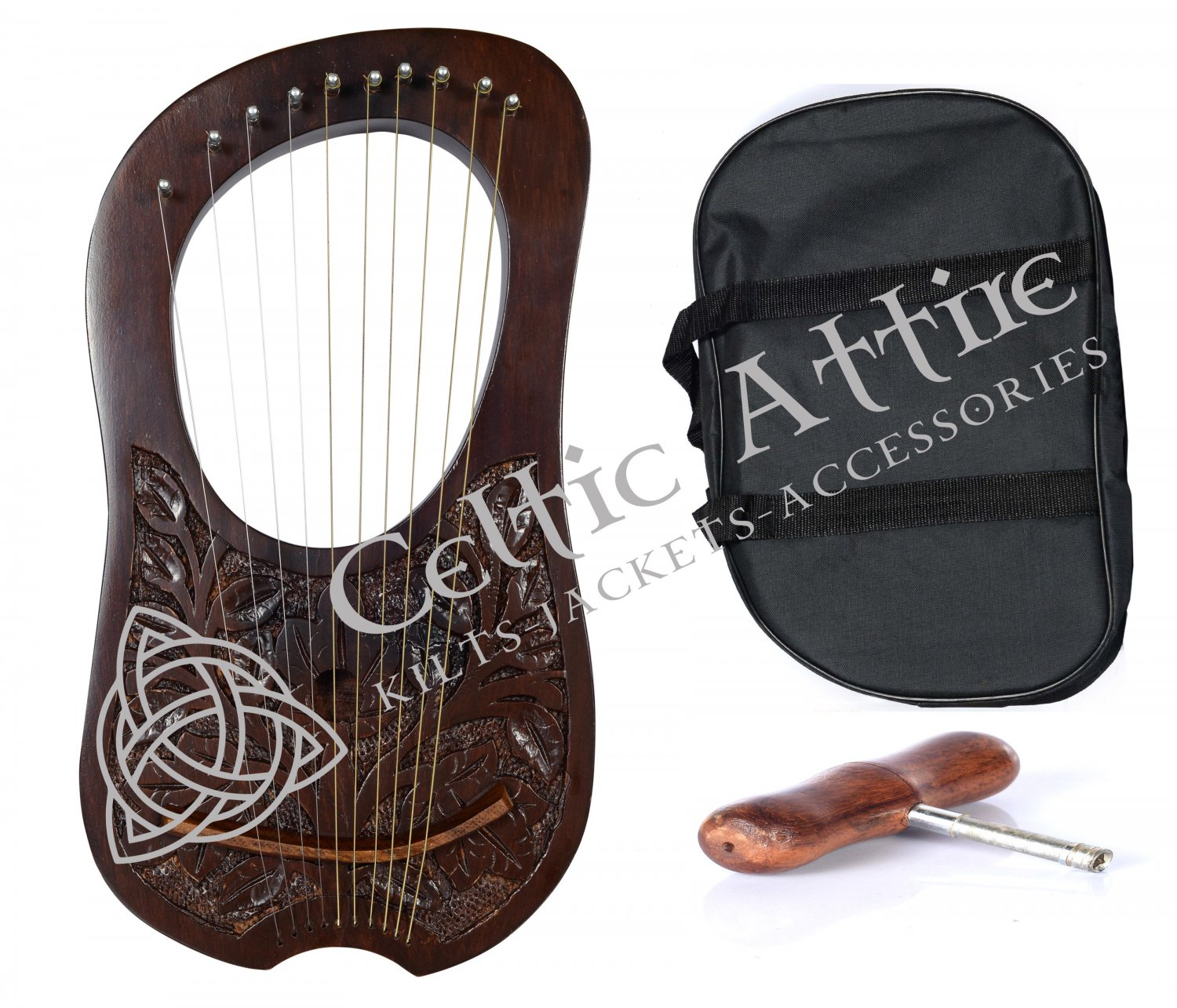 LYRE HARP 10 METAL STRINGS ROSEWOOD WITH FREE BAG And STRINGS KEY
