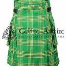 Scottish CLAN Green TARTAN UTILITY Modern KILT for Men - 13 Oz Acrylic Fabric size 36