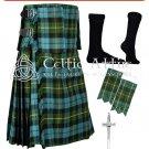 Premium-Gunn Ancient Fabric 16 Oz - Scottih 8 Yard Tartan Kilt and Accessories size 50